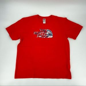 The North Face red graphic tee size L